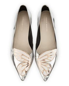 Bibi+Butterfly+Metallic+Leather+Flat,+Silver/Rose+Gold+by+Sophia+Webster+at+Neiman+Marcus.