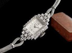 1950s Tiffany & Co 14k white gold & diamonds ladies watch