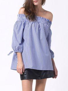 Off The Shoulder Oversized Smocked Striped Blouse