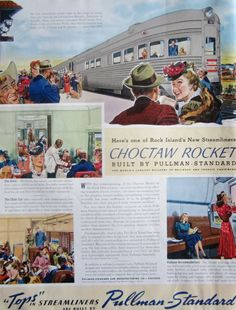 1941 Pullman-Standard Choctaw Rocket Streamliner Train Vintage Advertisement Train Wall Art Railroad Travel Decor Original Magazine Print Ad by RelicEclectic on Etsy