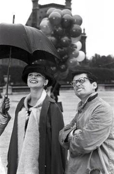 Audrey Hepburn with Richard Avedon on the set of Funny Face