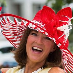 Hats to Di For red and white hemp braid by Diane Shagott #millinery #judithm #braid https://www.judithm.com/products/red-abaca-hemp-braiding