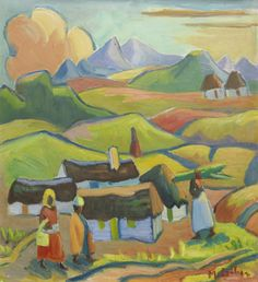 View Landscape with houses and figures by Maggie Maria Magdalena Laubser on artnet. Browse upcoming and past auction lots by Maggie Maria Magdalena Laubser. Grandma Moses, Travel Through Europe, South African Art, London Art, Simple Art, Cat Art, Printmaking, Painters, Canvas