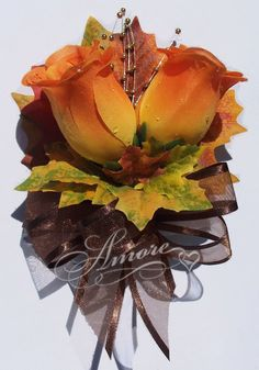 Orange Roses With Fall Maple Leaves Corsage