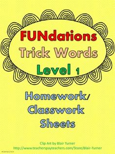 This is a packet of all 93 FUNdations trick words for 1st grade (edition 1) organized by unit. Each page includes the 3 trick words for the unit along with 3 different activities.  First, students write each trick word three times each. Next, students use one of the trick words to complete a sentence.