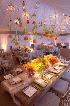 Wedding Reception Tables & Venue, hanging tulips + lanterns