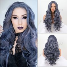 Cool! Sexy Dark Blue Hair Body Wave wig For Women Synthetic Lace Front Wigs Heat Resistant Fiber Hair Free Shipping