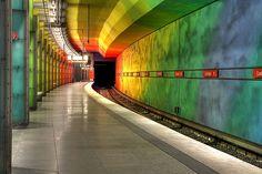 Candidplatz U-Bahn Station, Munich, Germany Beautiful Architecture, Modern Architecture, Bay Area Rapid Transit, U Bahn Station, Metro Subway, S Bahn, Metro Station, Environmental Design, Light Installation