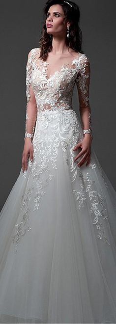 Attractive Tulle & Satin Bateau Neckline See-through A-line Wedding Dresses With Beaded Lace Appliques