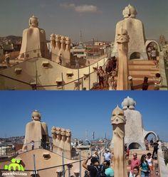 You can spot the Sagrada Familia in the background. Vicky Cristina Barcelona, La Pedrera, Filming Locations, Mount Rushmore, Around The Worlds, Mountains, Travel, Sagrada Familia, Viajes