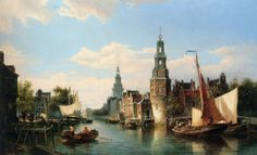 The Montelbaans Tower, Amsterdam by Cornelis Christiaan Dommelshuizen, Oil on canvas