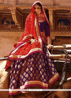 Winsome Patch Border Work Purple Banarasi Silk Designer Saree Model YOSAR3770