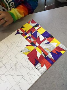 Use this for name drawing- write name in block letters then draw line pattern over. Color in spaces, zentangles too?