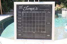 31 x 31 shabby chic framed chalk calendar