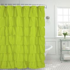 1pc Gypsy ruffled fully stitched curtain panel drape window treatment or shower curtain in 25 colors and 4 different sizes shower curtain lime green *** More info could be found at the image url. Note:It is Affiliate Link to Amazon.