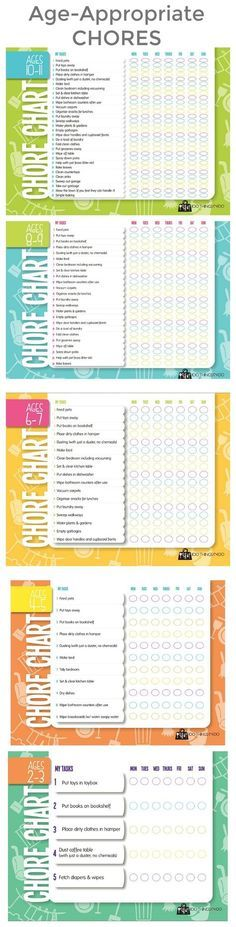 AgeAppropriate Chore Charts Free Printable  For The Kids
