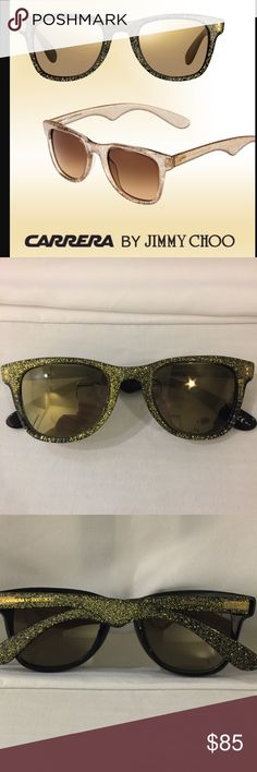 New Carrera by Jimmy Choo glitter sunglasses New black and gold glitter sunglasses never worn. Made by  Carrera by Jimmy Choo these are special edition Carrera sunglasses. Frame is black with gold glitter surrounding it.  Signature Carrera by Jimmy Choo stamp on arms of sunglasses. Very glitzy shades! No trades ❤️price firm. Comes with original bag and Carrera cleaning cloth. ✅Limited Edition Carrera by Jimmy Choo Accessories Sunglasses