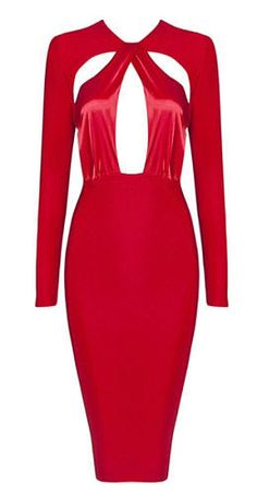 728f66b5970 Cameron Red Cutout Detail Long Sleeve Dress. Girls Night Out ...