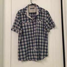 Men's  Trim Fit short sleeve plaid button down 7Diamonds Men's trim fit short…