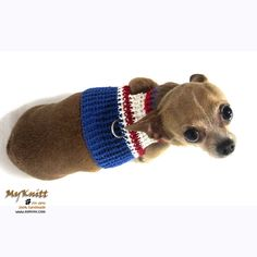 Fourth of July Dog Clothes Soft Cotton Red White and Blue Handmade Crocheted by Myknitt www.myknitt.com #instacute #dogs #myknitt #chihuahua #dog #puppy #designerdog #dogboutique #DIY