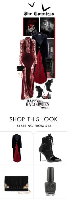 """THE COUNTESS..HAPPY HALLOWEEN!!!"" by shortyluv718 ❤ liked on Polyvore featuring Emporio Armani, Zuhair Murad, Giuseppe Zanotti, La Regale, OPI, Stila and Halloween"