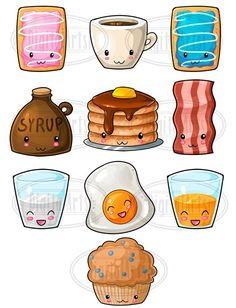 Kawaii Breakfast Designs Clipart - Eggs - Bacon - Coffee - Pancakes - Orange Juice - Milk - Syrup - Toaster Pastries - Muffin Included in this package: - 1 ZIP Cute Food Drawings, Cute Kawaii Drawings, Easy Drawings, Breakfast Clipart, Griffonnages Kawaii, Pancake Drawing, Kawaii Cookies, Dibujos Cute, Unicorn Art