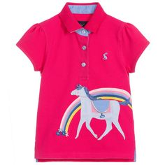 Girls fuchsia pink polo shirt by Joules, made in comfortable cotton piqué. It has a cute horse and rainbow design on the front, with a glittery silver underside on the collar and matching glittery button fastenings. The brand's signature hare logo is embroidered on the chest in blue. Joules Girls, Cute Horses, Shirts For Girls, Pink Girl, Polo Shirt, Polo Ralph Lauren, Mens Tops, Cotton, Hare