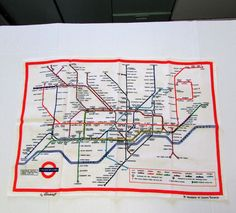 Vintage London Transit Underground Map Tea Towel Pre-1977 White Linen Blackstaff