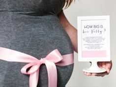 All+you+need+for+this+game+is+a+roll+of+ribbon+or+string,+scissors+and+the+mom-to-be.+Have+each+guest+cut+a+piece+of+ribbon+the+length+they+think+will+wrap+around+her+belly+perfectly.+Take+turns+measuring+around+her+belly+and+the+person+with+the+closest+length+wins. Download+the+blue+game+instruction+cards, download+the+green+game+instruction+cards or download+the+pink+game+instruction+cards.