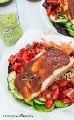 Ready in just 10 minutes, this simple bbq salmon salad with avocado ranch dressing is the perfect paleo dinner option! Gluten free, grain free and whole30 approved | www.pancakewarriors.com