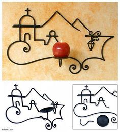 Wrought iron candleholder, 'Colonial Town' - Wrought iron candleholder (image 2)