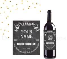 Chalkboard Birthday wine bottle label custom by DosBesosDesigns