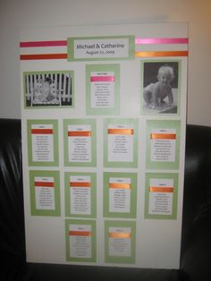Wedding seating chart with baby photos of the bride and groom.