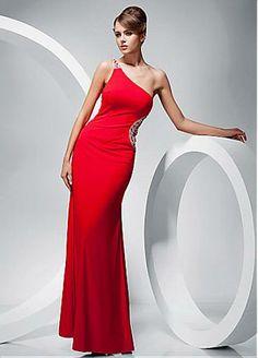 Alluring Stretch Satin Sheath One Shoulder Neckline Straight Floor-length Evening Dress