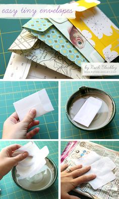 easy-tiny-envelopes-tutorial good way to get rid of ugly paper and make jewlrey bags for craft fair