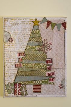 christmas mixed media canvas with scrapbook paper and modge podge