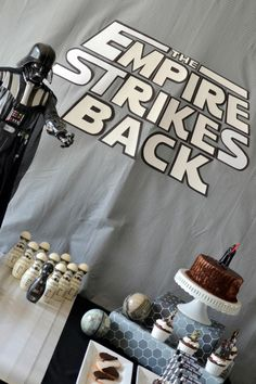 Boy's Star Wars Bowling Birthday Party Dessert Table Ideas
