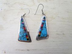 Vintage Earrings / Sterling Silver Turquoise by LUXXORVintage, $44.00