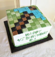 Minecraft Design Buttercream Iced Cake With Fondant Top Design Thanks For Looking Lisa on Cake Central
