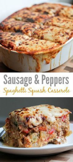 Sausage & Peppers Spaghetti Squash Casserole - a simple, low carb dinner recipe that tastes like a pasta bake ... without the pasta!
