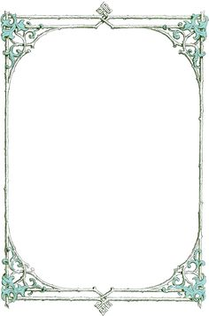 Leafy clip art border from an antique book.  Blue leaves and green twigs in the frame.