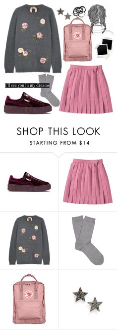 """Pink Tennis Skirt"" by vicki-shiu ❤ liked on Polyvore featuring Puma, N°21, Falke, Fjällräven, Dana Rebecca Designs, H&M, Pink, Sweater, puma and tennisskirt"