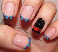 "Disney Princess French Tips ""Snow White"" Nail Art Tutorial / Polish Art Addiction Great Nails, Cool Nail Art, Cute Nails, My Nails, Fancy Nails, Amazing Nails, Snow White Nails, White Nail Art, White Manicure"