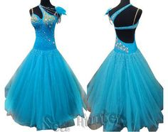 Ballroom Everday Watlz Tango Standard Dance Dress US 8 UK 10 Blue Flowers Color