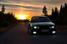 BMW E36 3 series black sunset …