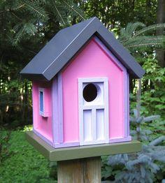 Pink with purple birdhouse