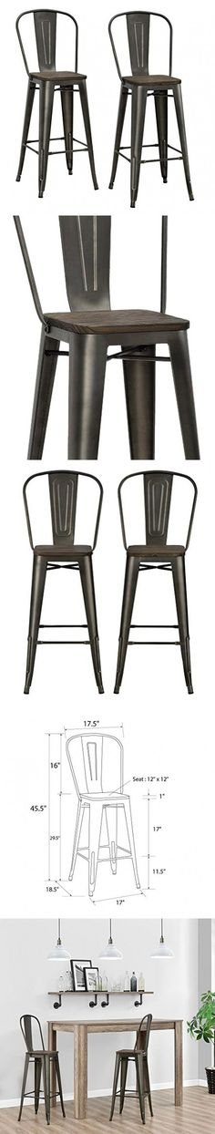 "DHP Luxor Metal Counter Stool with Wood Seat and Backrest, Set of two, 30"", Antique Copper"