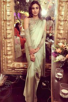 Cold shoulder blouse saree