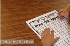"Pass the Paper is a simple game designed for small group practice  to reinforce counting and writing numbers 0- 120. I put my students in teams of 4-5. When I say ""GO"", each student in the group writes one number in the blank 120 chart. For example, student 1 writes a 0 and passes it to student 2 who writes a number 1. This continues until their chart is completed with numbers 0-120. The first group to finish their 120 chart wins the game!"