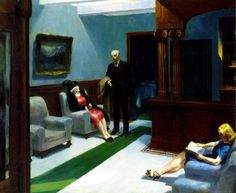 "Edward Hopper (American, 1882-1967), ""Hotel Lobby,"" 1943; Indianapolis Museum of Art, William Ray Adams Memorial Collection, 47.4; © Edward Hopper"